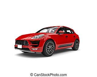 escarlata, moderno, rojo, automóvil de familia