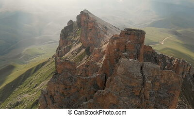 escarpé, extrême, dièse, sunset., montagne, aérien, rocher, voler, vidéo, rocheux, affleurements, vol, voyage, formations, vue, mountaineering., bourdon, sur
