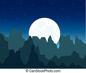 escarpé, montagnes, lune