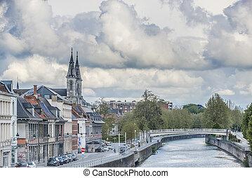 Escaut River passing through Tournai in Belgium. - Escaut ...