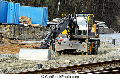 escavação, construção, cavador