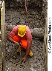 escavação, roadworks, trabalhador construção, la