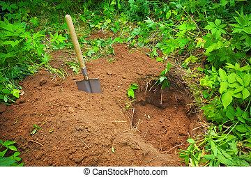 escavação, um, buraco, em, a, ground., busca, para, tesouro
