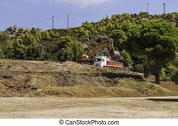 escavador, cargas, caminhão basculante, solo, ligado, a, local construção