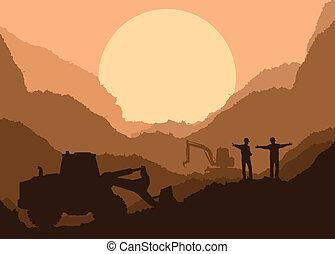 escavador, carregador, em, local construção, com, levantado,...