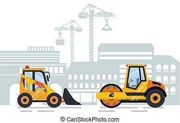 escavador, cityscape, equipamento, construção