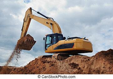 escavador, com, terra, em, a, balde
