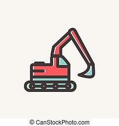 escavador, hidráulico, caminhão, linha magra, ícone