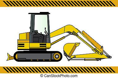 escavador, maquinaria construção, equipamento