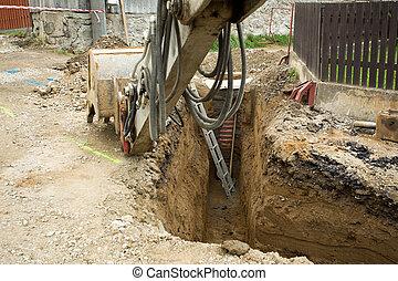 escavador, ploughshare, ligado, trincheira, -, construir,...