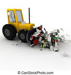 escavador, removendo, caos