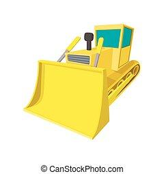 escavadora, caricatura, ícone