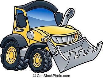 escavadora, cavador, caricatura