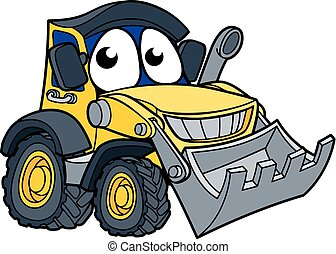 escavadora, cavador, caricatura, mascote