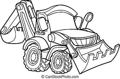 escavadora, cavador, caricatura, veículo