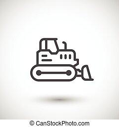 escavadora, crawler, linha, ícone