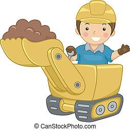 escavadora, criança