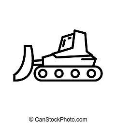 escavadora, desenho, trator, ilustração