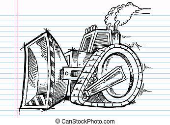 escavadora, doodle, vetorial, esboço