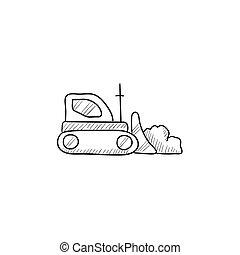 escavadora, esboço, icon.