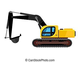 escavadora, escavador, cartoon., car, amarela, carregador, concha, vetorial, veículo, construção, cavador