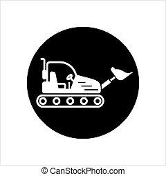escavadora, escavador, escavadora, ícone, crawler, ícone