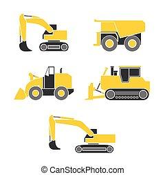 escavadora, escavador, trator