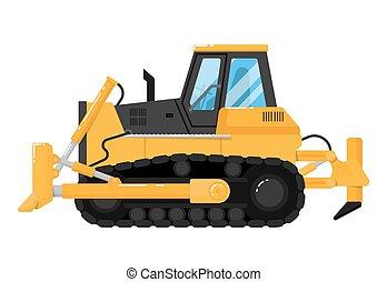 escavadora, fundo branco, isolado, amarela