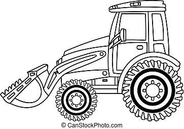 escavadora, illustration., vetorial, pretas, branca, bulldozer.