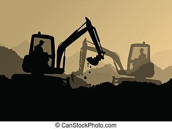 escavadora, industrial, cavando, escavador, trabalhadores, local, ilustração, tratores, vetorial, fundo, construção, carregadores