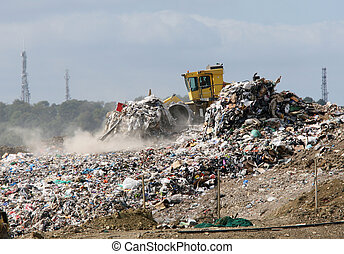 escavadora, ligado, um, landfill, local