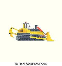 escavadora, ou, lagarta, crawler, vista lateral