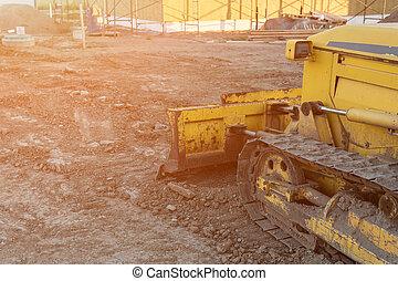 escavadora, trabalho casa, cima, amarela, construção, privado, fim, durante