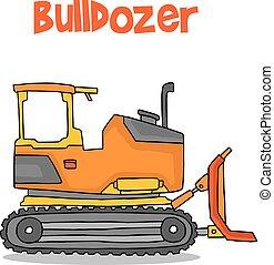 escavadora, transporte, caricatura, cobrança, estoque