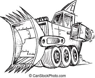 escavadora, veículo, esboço, blindado
