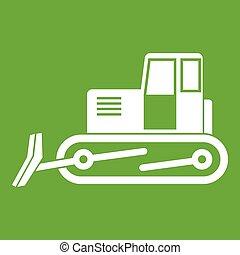 escavadora, verde, ícone