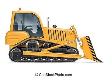 escavadora, vetorial, amarela, ilustração