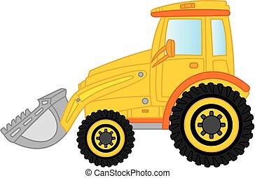 escavadora, vetorial, bulldozer., illustration.