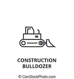 escavadora, vetorial, golpes, editable, ilustração, sinal, fundo, ícone, construção, linha