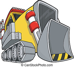escavadora, vetorial, ilustração