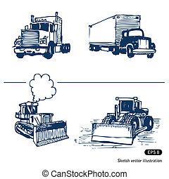 escavadoras, caminhões