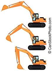 escavadoras, posições, três