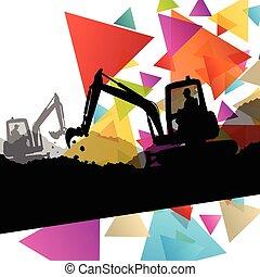 escavadores, local construção, tratores, cavadores