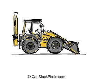 escavator, croquis, conception, ton