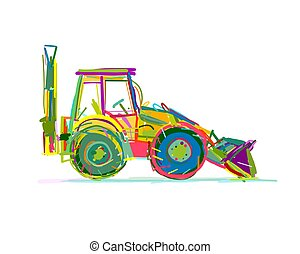 escavator, esboço, desenho, seu