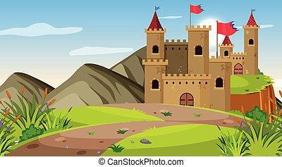 escena, al aire libre, castillo