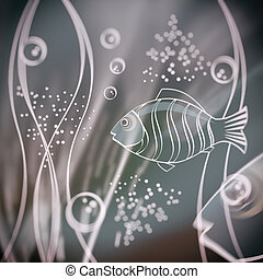 escena, bubbles., pez, selectivo, submarino, effect., foco