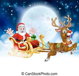 escena, caricatura, reno, santa, sleigh, navidad