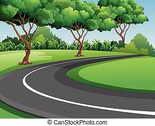 escena, con, camino, en el parque