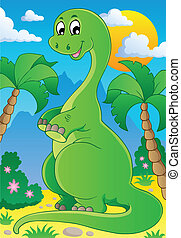 escena, con, dinosaurio, 2